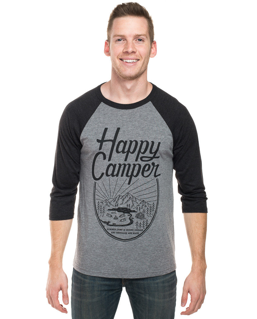 Happy Camper Mens Baseball Tee