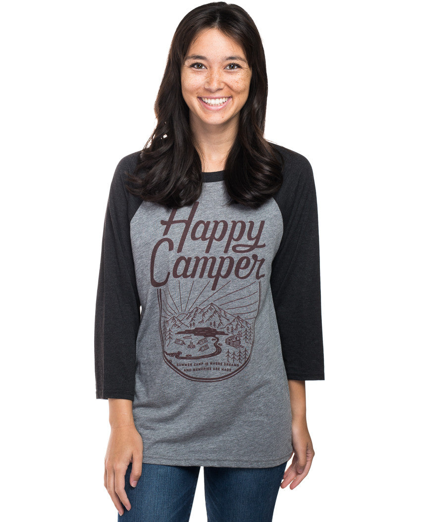 Happy Camper Womens Baseball Tee