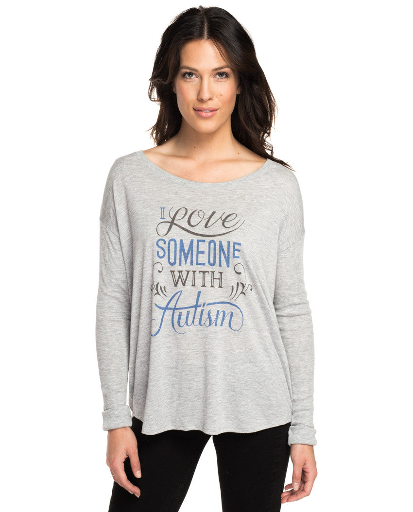 I Love Someone With Autism Flowy Long Sleeve Tee