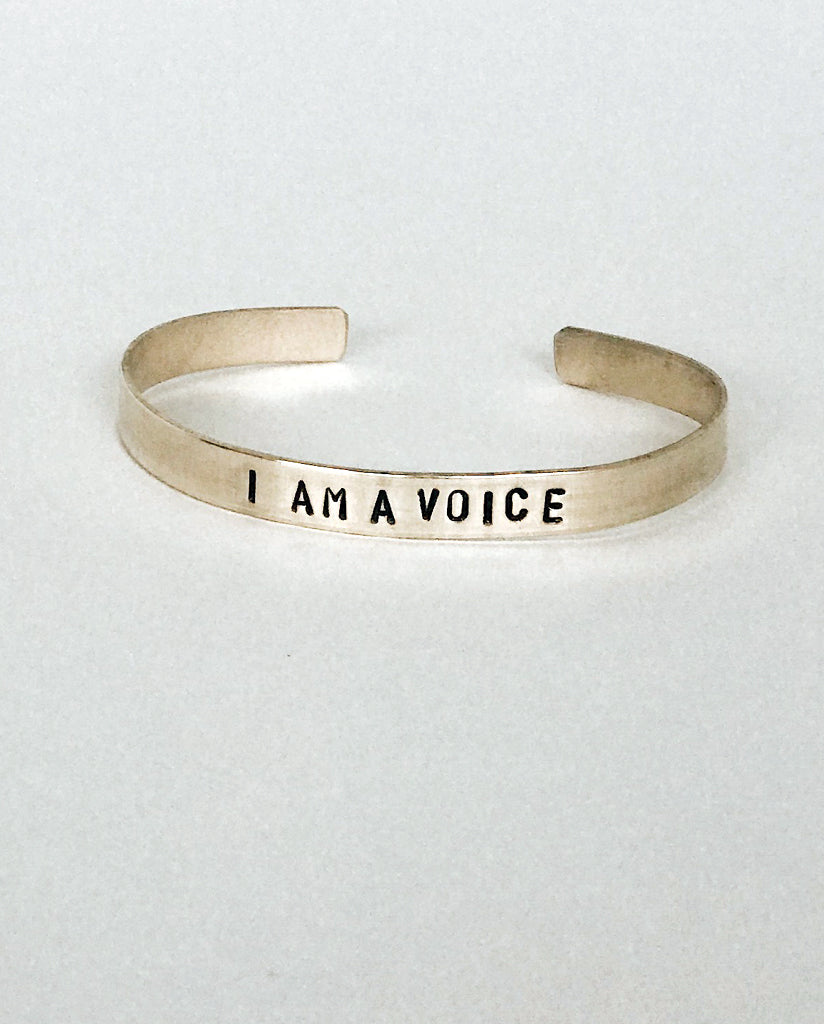 I AM A VOICE Hand-Stamped Brass Cuff