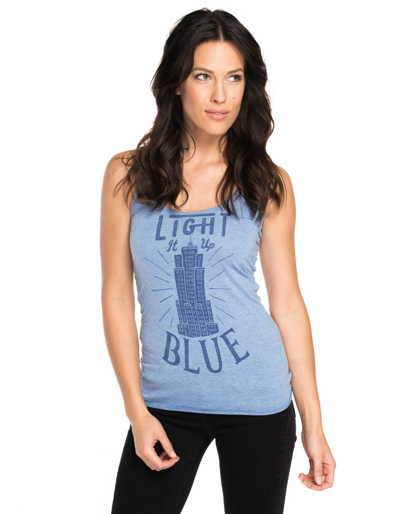 Light It Up Blue Triblend Racerback Tank