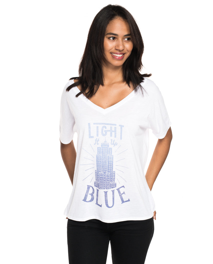 Light It Up Blue Flowy V Neck