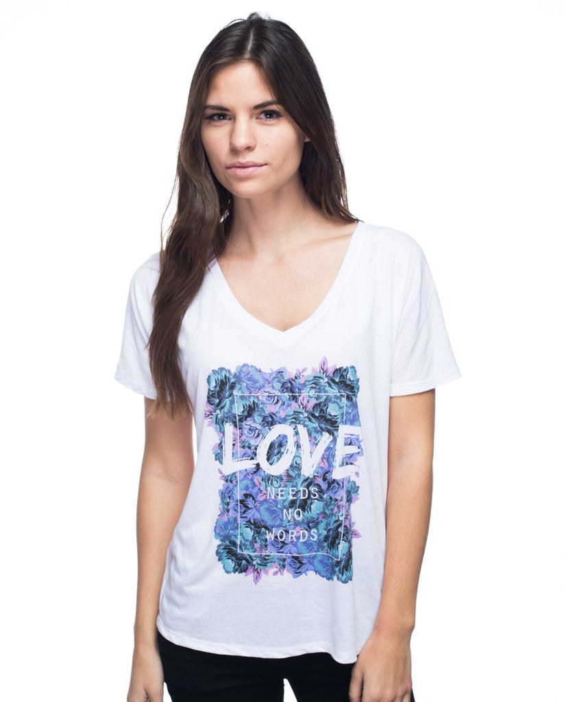 Love Needs No Words Flowy V Neck