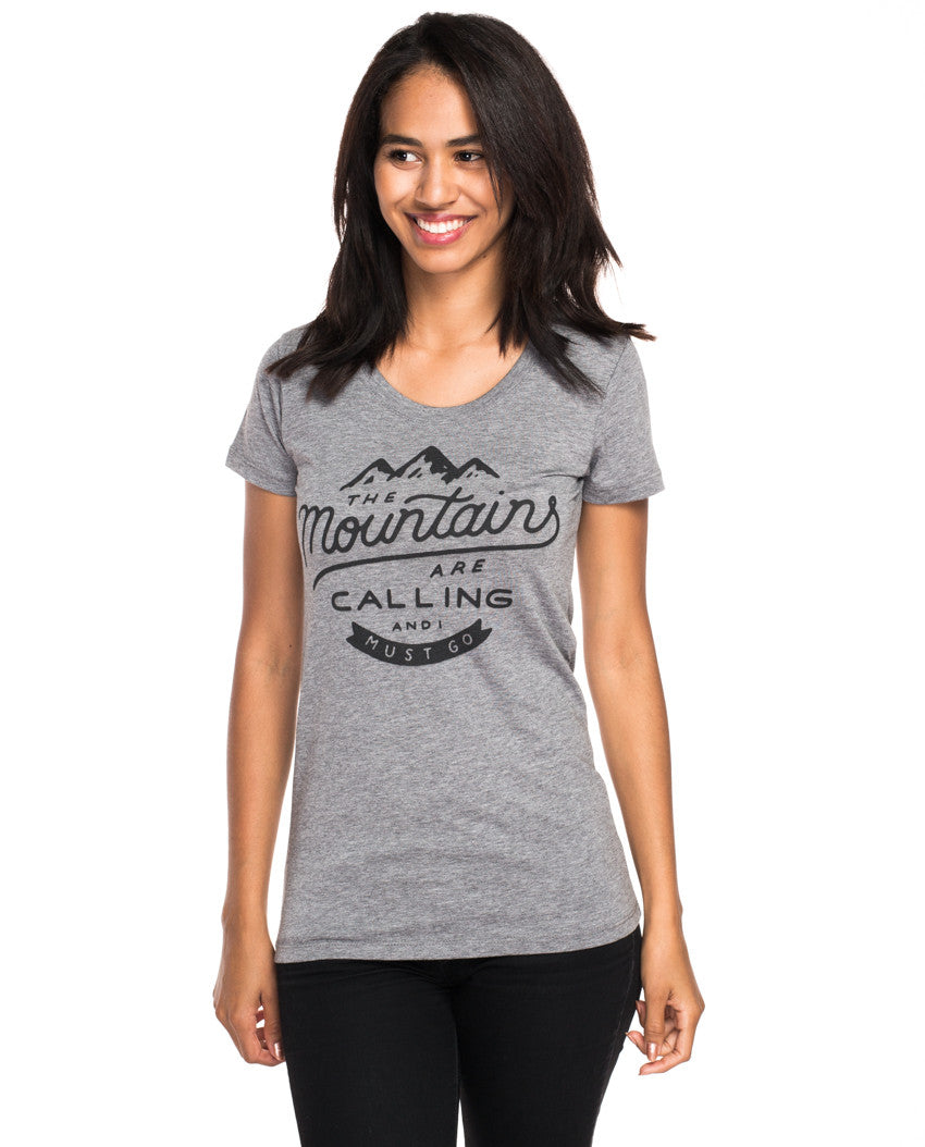 Mountains are Calling I Must Go T-Shirt Womens Crop Tops Short Sleeve Tees Short Sleeve Cotton Shirt