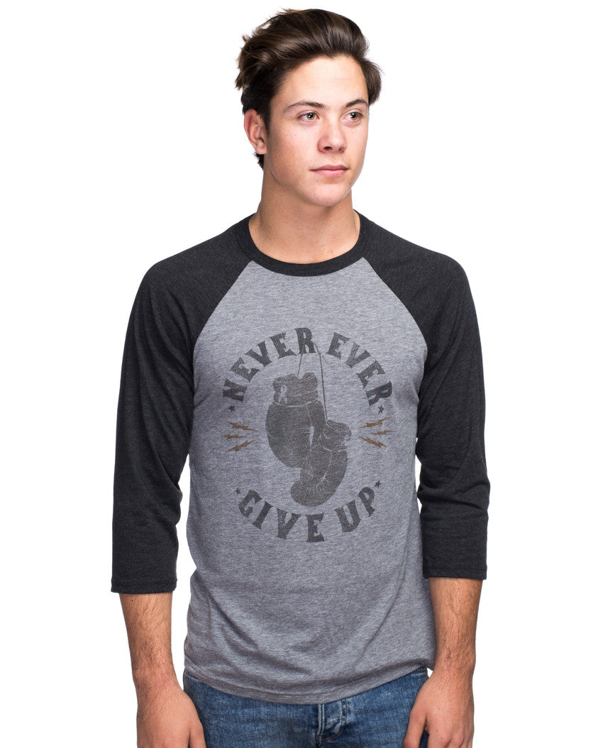 Never Ever Give Up Mens Baseball Tee