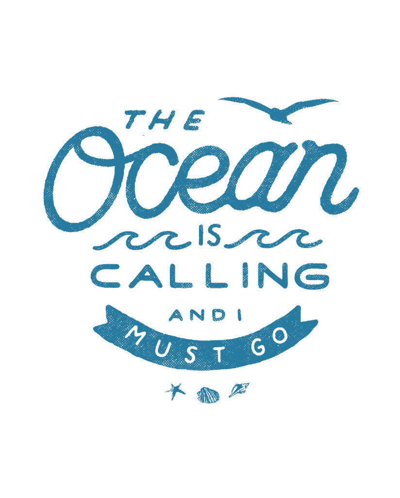 The Ocean Is Calling Mens Blue Premium Fitted Tee