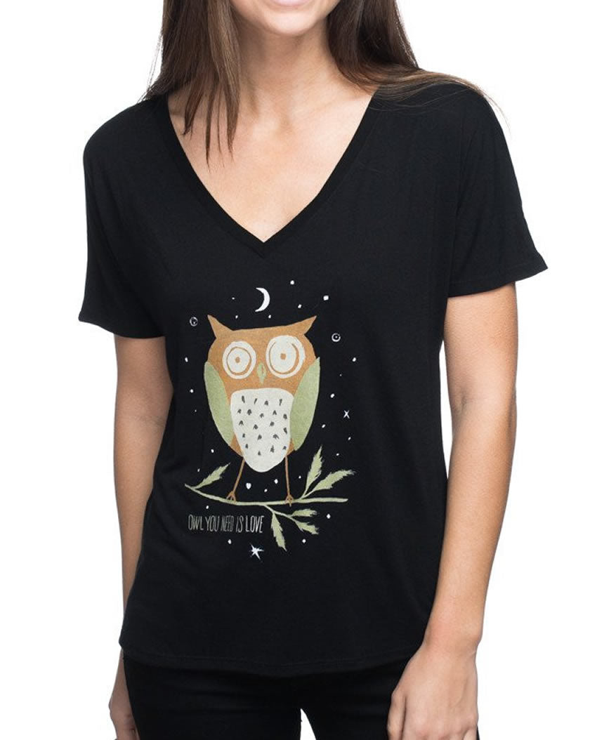 Owl You Need Is Love Flowy V Neck