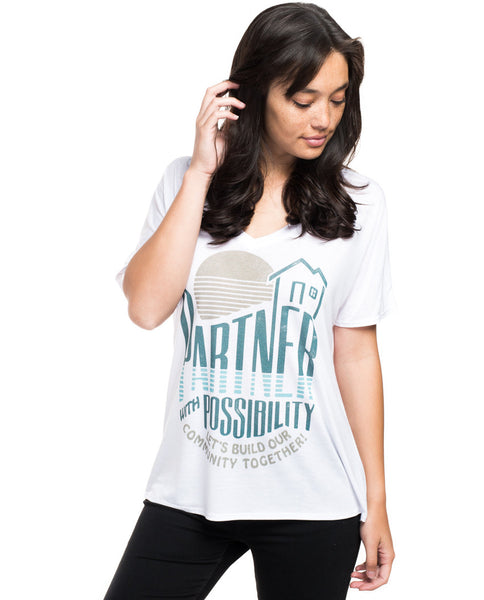Partner With Possibility Flowy V Neck