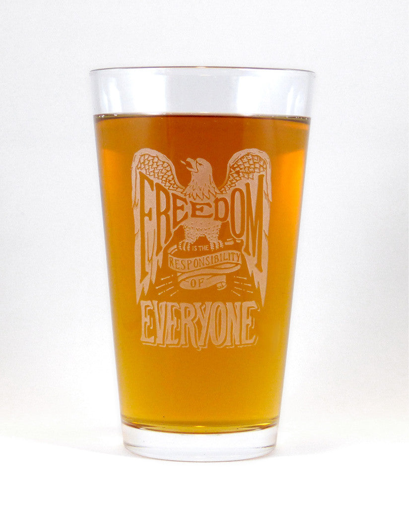 Hand-Etched, Limited Edition FREEDOM FOR EVERYONE Glassware