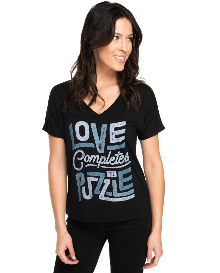 3bb8b197493 Love Completes The Puzzle Flowy V Neck