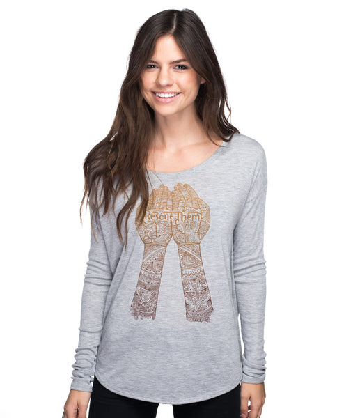 Rescue Them Flowy Long Sleeve Tee