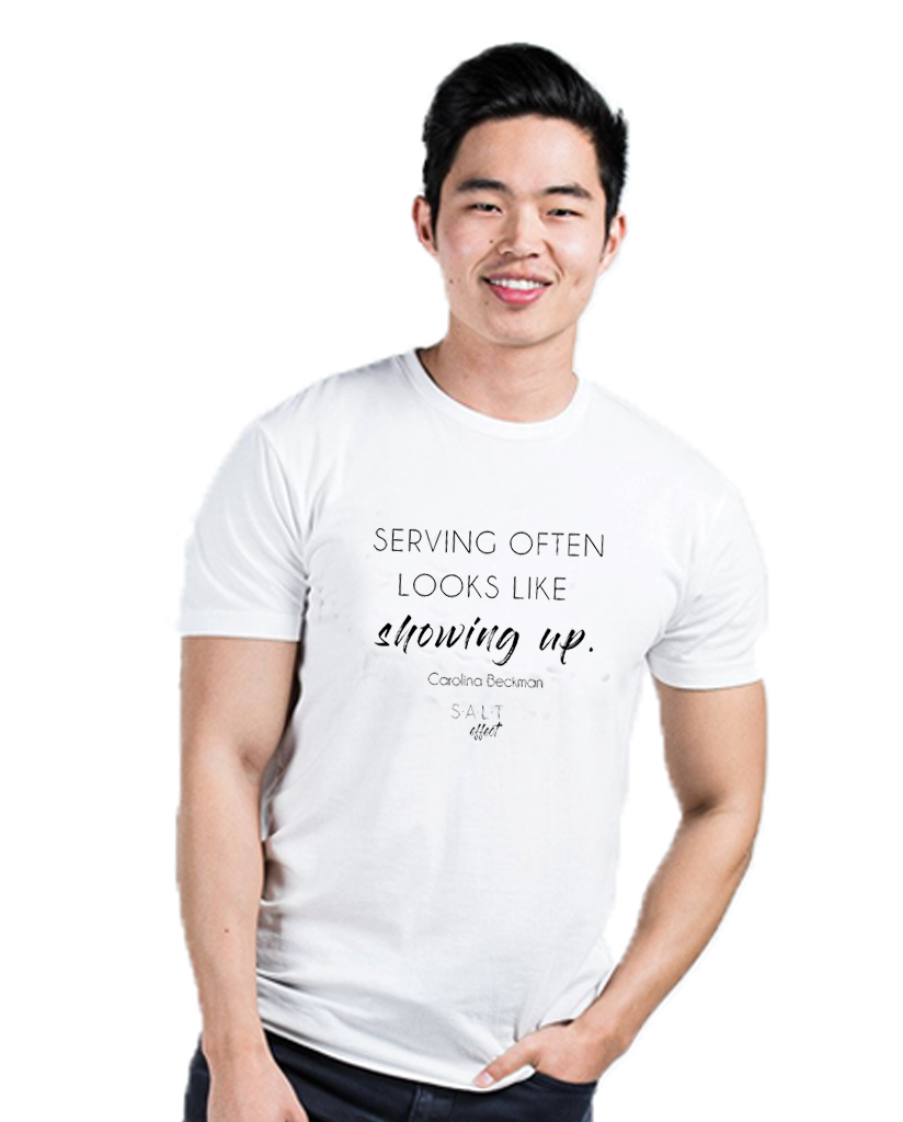 Showing Up White Premium Fitted Tee
