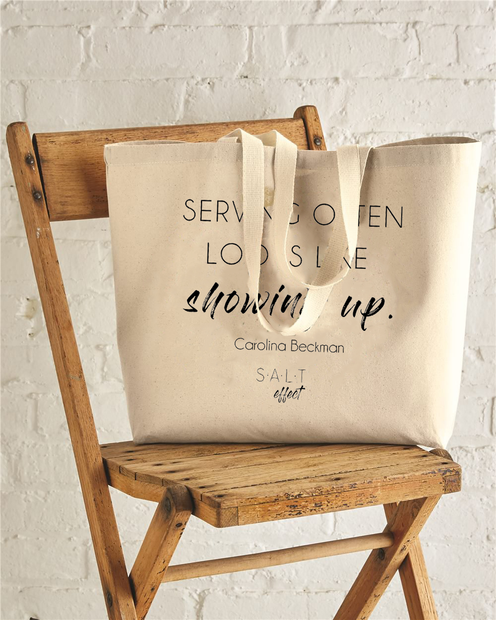 Showing Up Jumbo Cotton Canvas Tote Bag