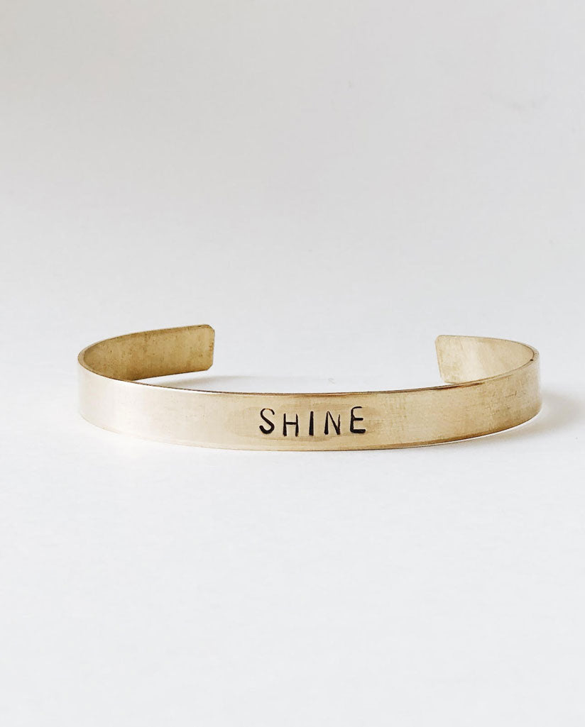 SHINE Hand-Stamped Brass Cuff