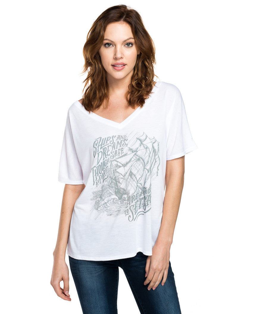 Ships and Dreams Flowy V Neck