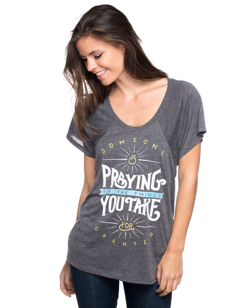 Someone Is Praying Flowy Raglan