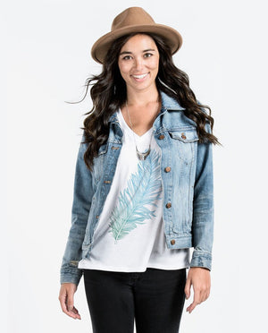 T-shirt - Feather Flowy V Neck