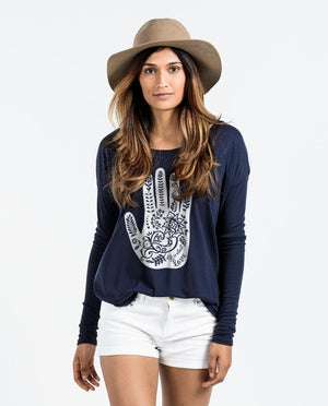 T-shirt - Henna Hand Flowy Long Sleeve Tee
