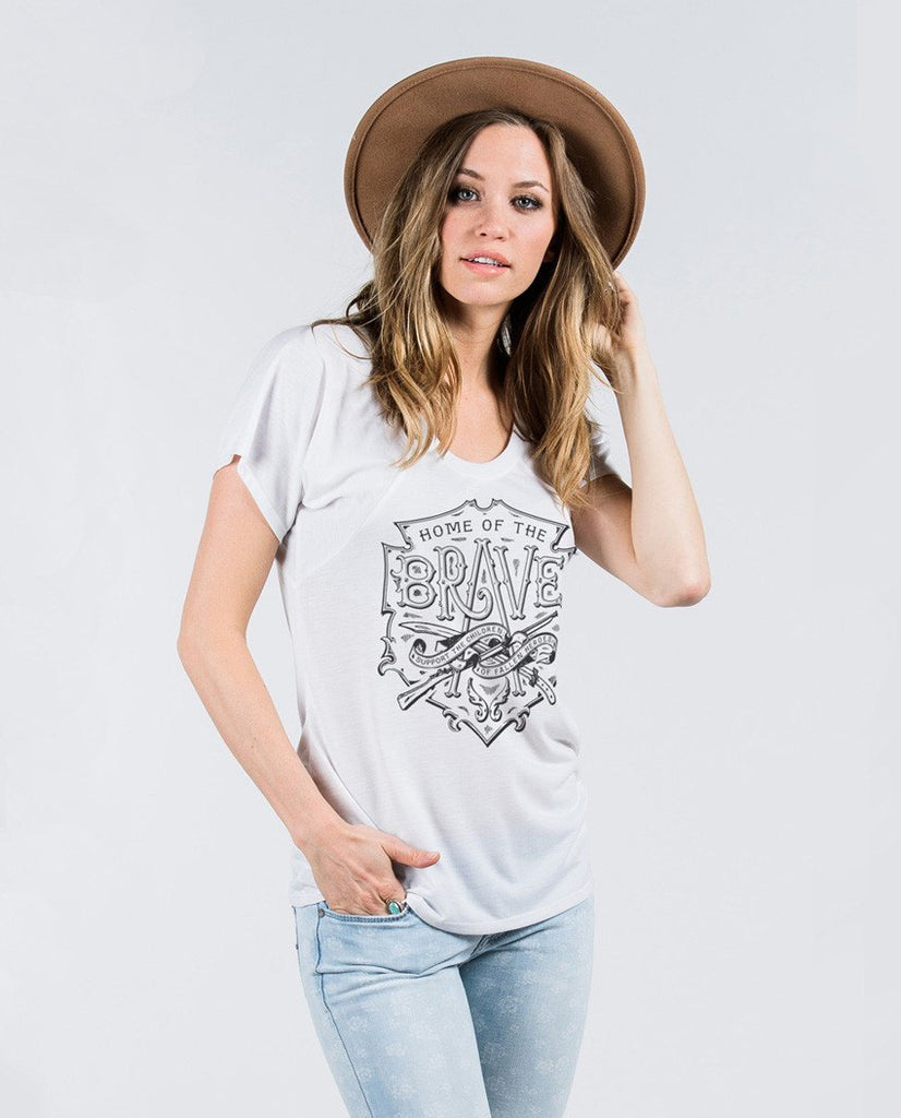 T-shirt - Home Of The Brave Flowy Raglan