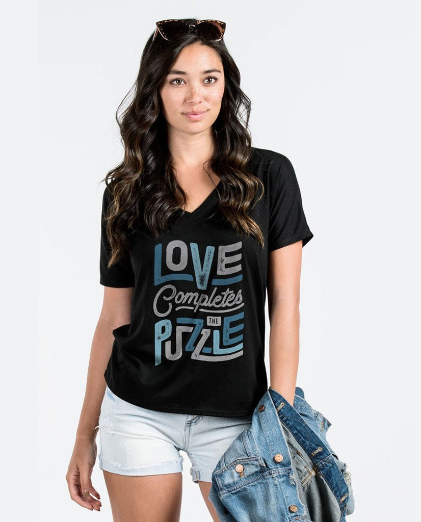 T-shirt - Love Completes The Puzzle Flowy V Neck