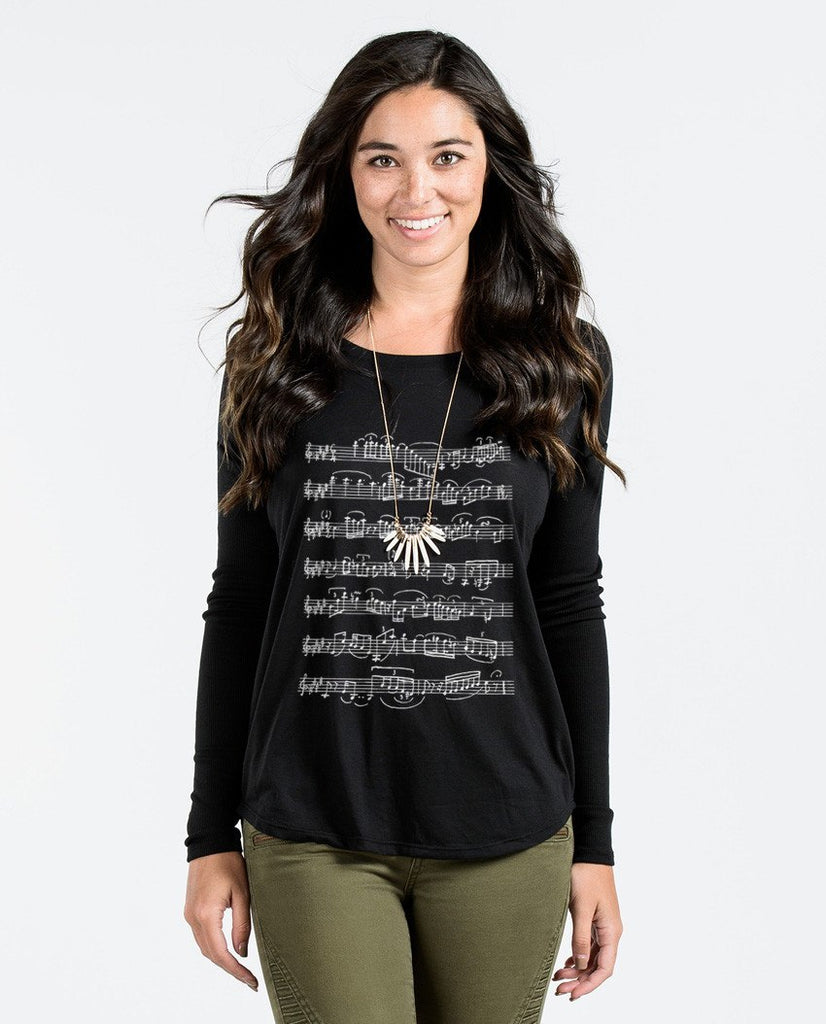 T-shirt - Musical Notes Flowy Long Sleeve Tee