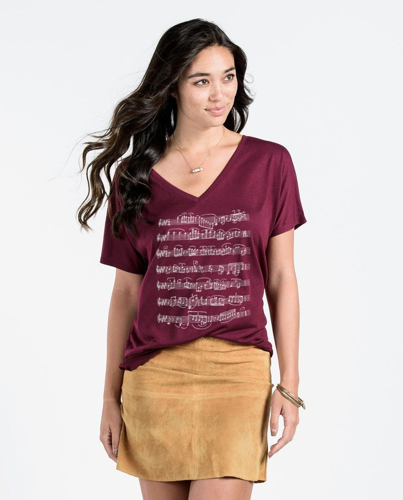 T-shirt - Musical Notes Flowy V Neck