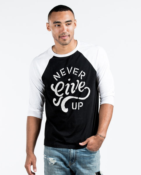 T-shirt - Never Give Up Unisex Quarter Sleeve Baseball Tee