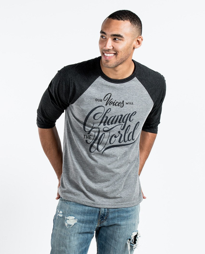 T-shirt - Our Voices Will Change The World Unisex Quarter Sleeve Baseball Tee