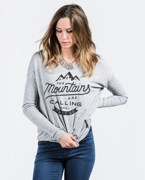 T-shirt - The Mountains Are Calling and I must Go Flowy Long Sleeve Tee