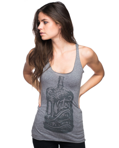 Water Is Life Giving Triblend Racerback Tank