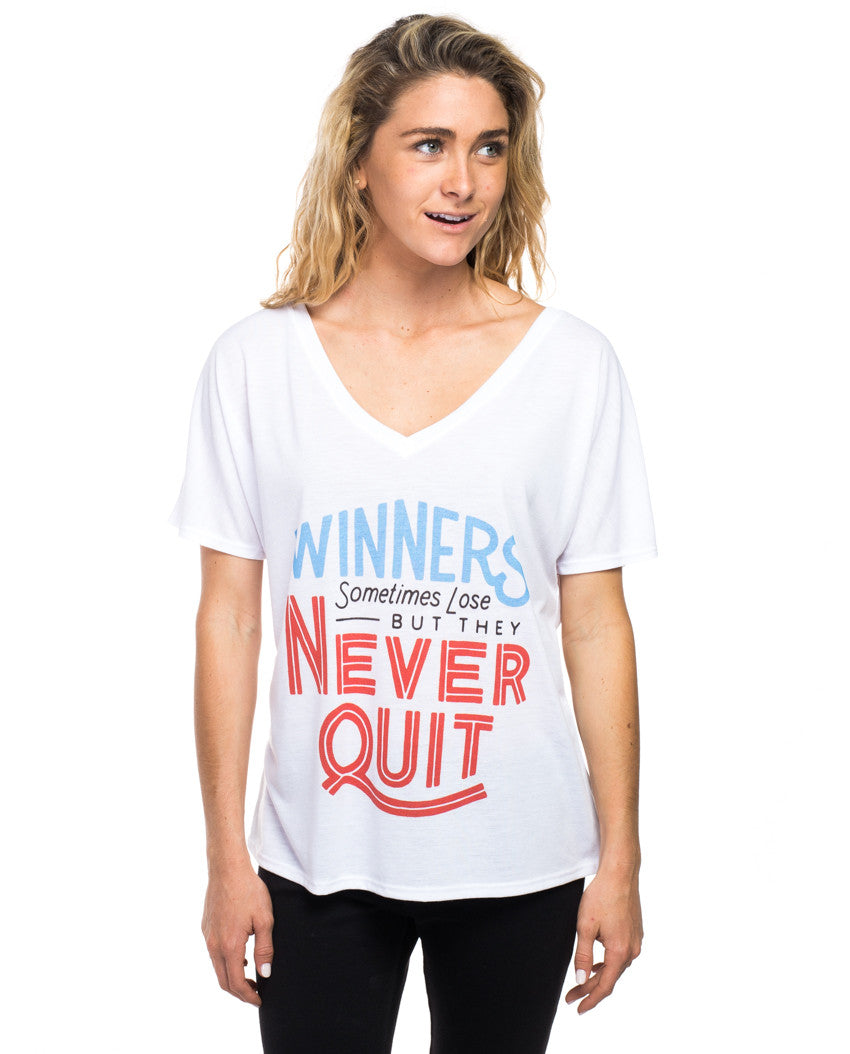 Winners Never Quit Flowy V Neck