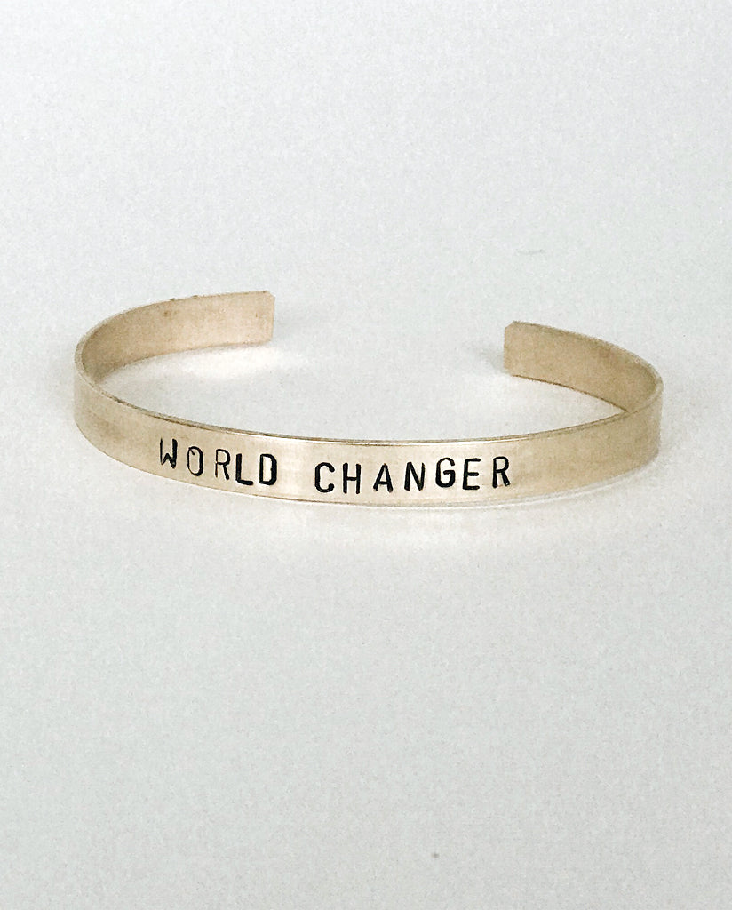 WORLD CHANGER Hand-Stamped Brass Cuff