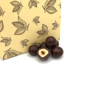 Dark chocolate enrobed hazelnuts