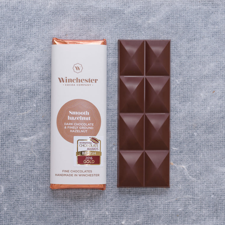 Smooth hazelnut dark chocolate bar
