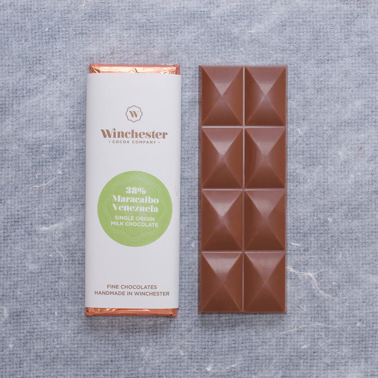 38% Maracaibo, Venezuela single origin milk chocolate bar