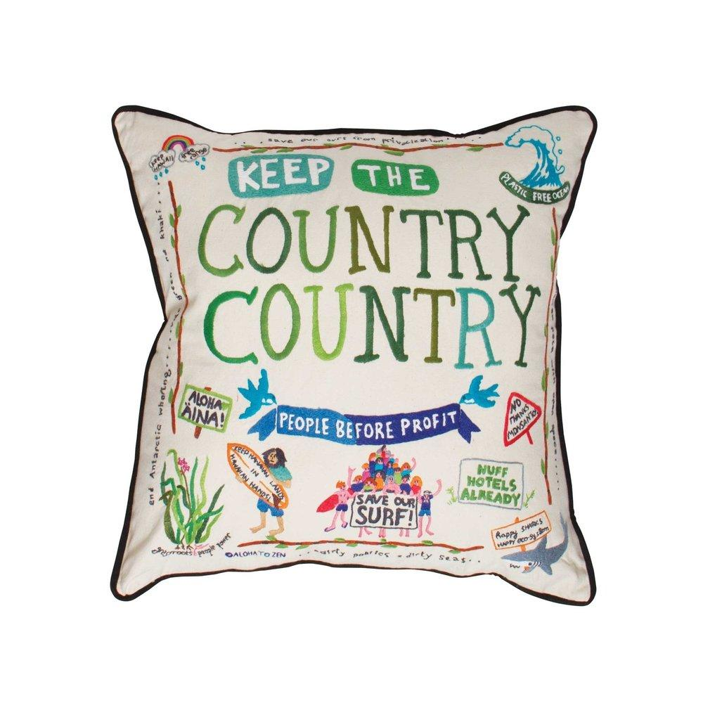 Aloha to Zen Keep the Country Country Hand embroidered Pillow