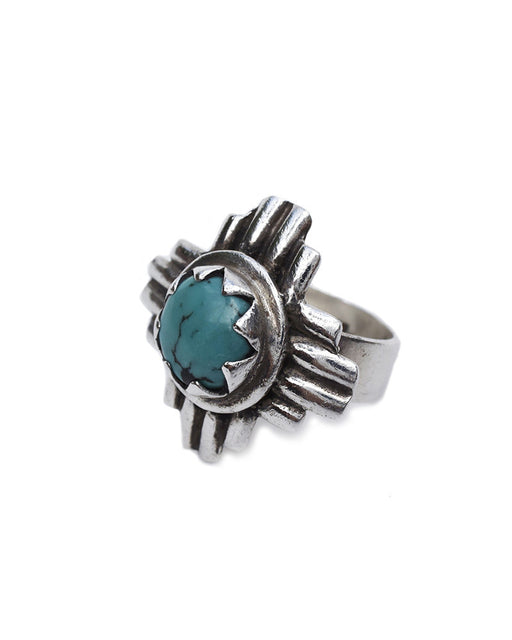 Turquoise and Tobacco Cactus Flower Ring