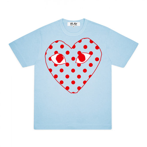 Play Comme des Garçons | Women's Bright Spotted Heart T-Shirt | Blue