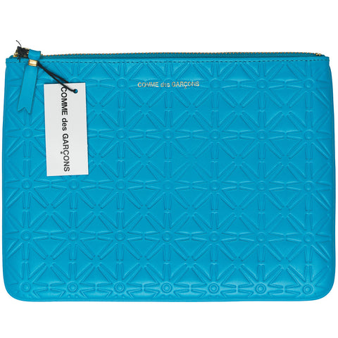 Comme des Garcons Large Embossed Blue Wallet