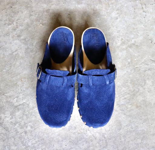Bosabo Classic Wooden Clogs in Navy Suede