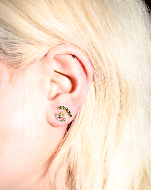 "Delphes Paris | Green ""Istanbul"" Eye Stud earring"