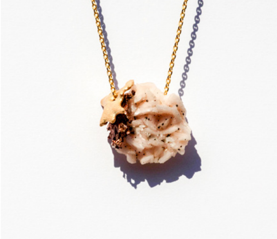 REGINA DABDAB Necklace bronze gold plated, copper and dolomite