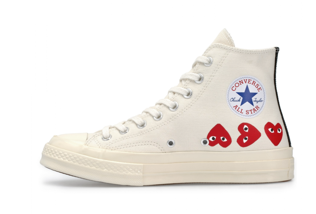 Play Comme des Garçons Converse Multi Red Heart Chuck Taylor All Star '70 High (White)