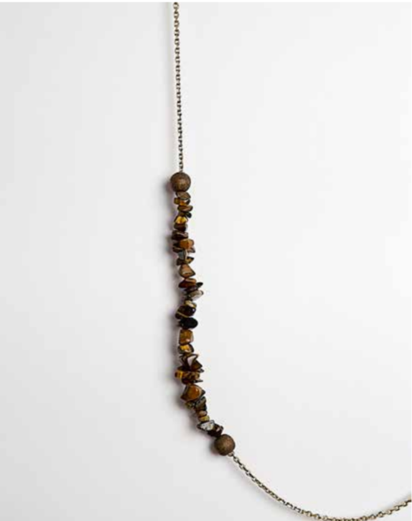 Tiger Eye and Bronze Gold Plated Necklace | Regina Dabdab