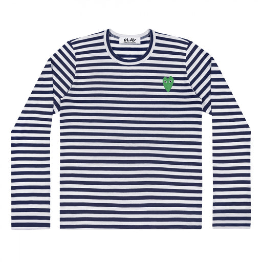 Play Comme des Garçons | Men's Green Heart Striped T-Shirt