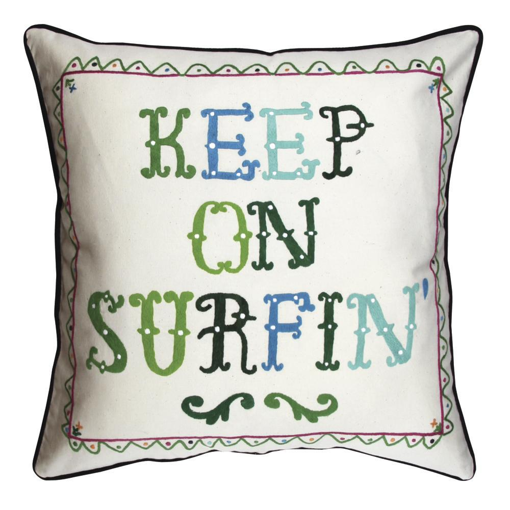 Aloha to Zen Keep on Surfin /Surf Shack  Hand embroidered Pillow