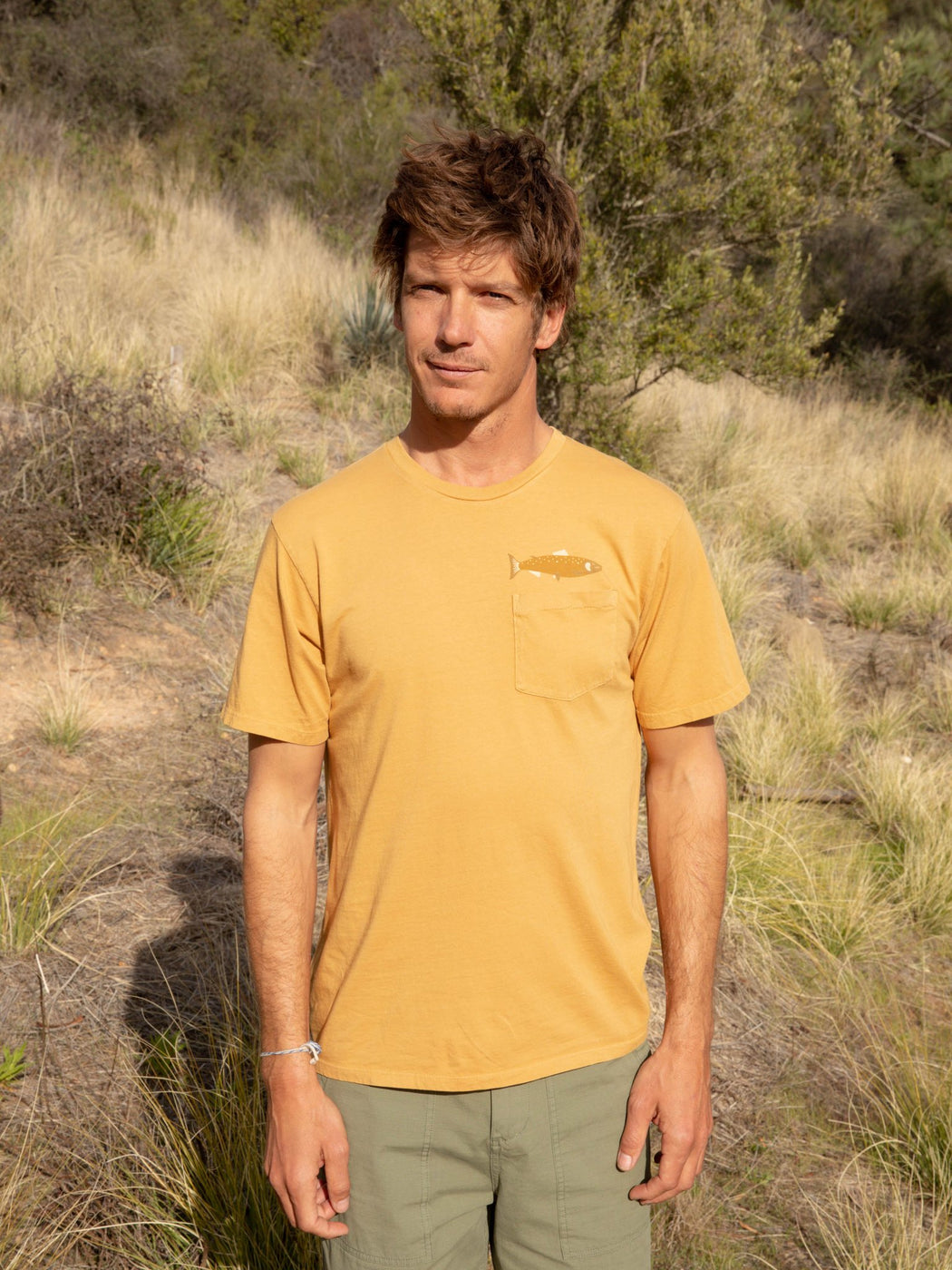 Mollusk Hot Salmon Tee inSun Shine Yellow