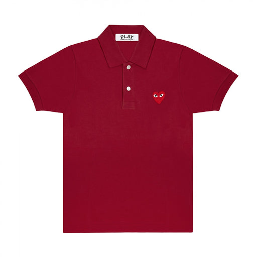 Play Comme des Garçons | Little Red Heart Polo Shirt | Burgundy