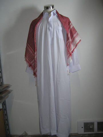 Saudi Thawb with Collar / Red and White Headcover