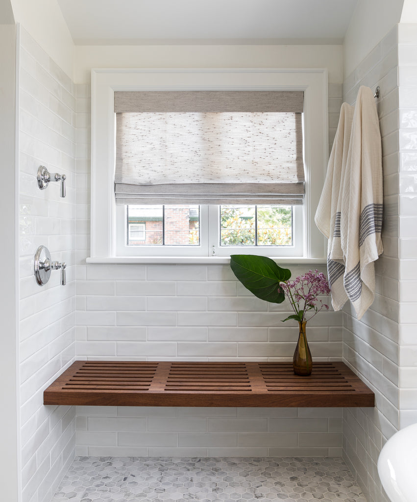 shower remodel wooden bench sitting area